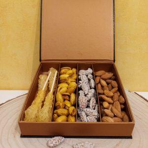 un coffret cadeau d'exception : plaisir sain et gourmand, à partager ou à offrir : cristaux safranés d'Iran, pistache safranée d'Iran, amande de samangan, rose amande ou nuql