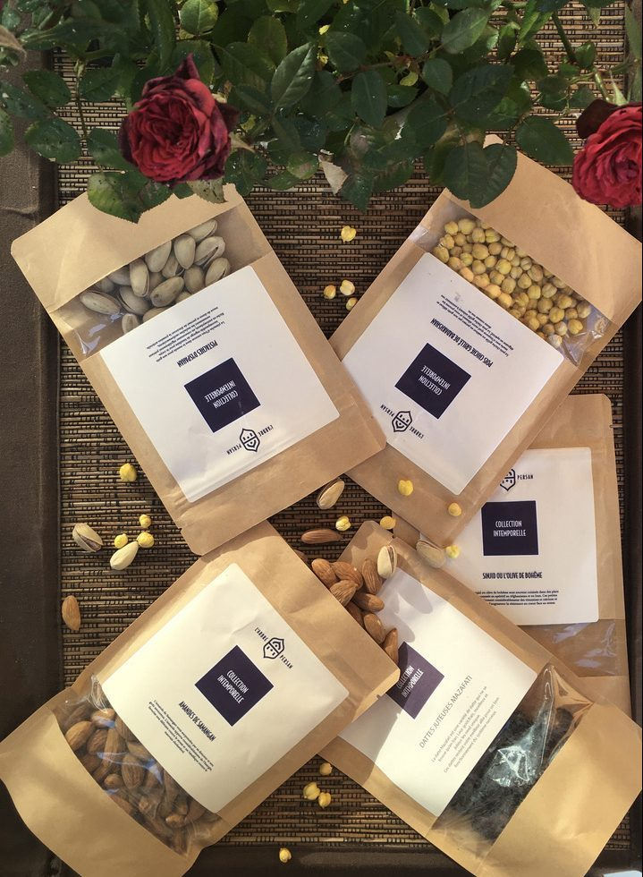 Découvrez la collection intemporelle composée d'olive de bohême, de datte mazafati, amande samangan, de pistache d'ispahan, pois chiche grillé de badakhshan